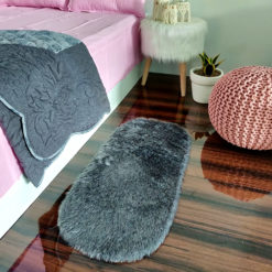 Shaggy Carpet –  Premium Medium Fur – 88X40 cm Oval Shape – Avioni Carpets- Grey