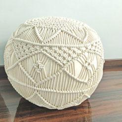 Bigmo Boho Knotted Cotton Natural Mystic Pouf Ottoman Large Size- 35x50x50 cm