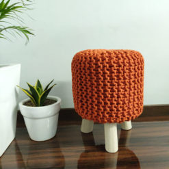 BIGMO Luxury Hand Knotted Boho Look Stool/ Ottoman (3 Legs-Natural Finish)
