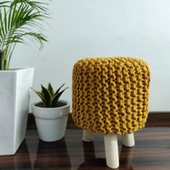 BIGMO Luxury Hand Knotted Boho Look Stool/ Ottoman (3 Legs-Natural Finish)-Mustard Yellow