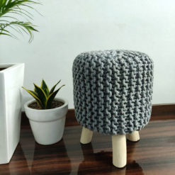 BIGMO Luxury Hand Knotted Boho Look Stool/ Ottoman (3 Legs-Natural Finish)-Gray