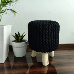 BIGMO Luxury Hand Knotted Boho Look Stool/ Ottoman (3 Legs-Natural Finish)-Black