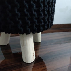 BIGMO Luxury Hand Knotted Boho Look Stool/ Ottoman (3 Legs-Natural Finish)-Black