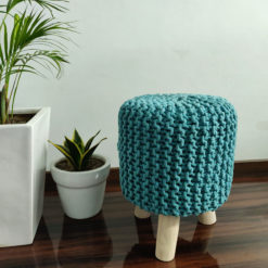 BIGMO Luxury Hand Knotted Boho Look Stool/ Ottoman (3 Legs-Natural Finish)-Turquoise)