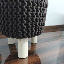 BIGMO Luxury Hand Knotted Boho Look Stool/ Ottoman (3 Legs-Natural Finish)-Brown