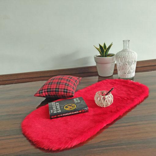 Shaggy Carpet –  Premium Medium Fur – 88X40 cm Oval Shape – Avioni Carpets- RED