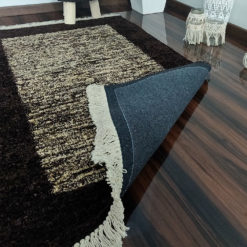 Save 5% off on Combo of Avioni Carpet Silk Neo Collection Brown Tiedye and matching Brown Boho Stool