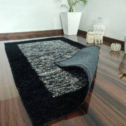 Avioni Carpet Silk Neo Collection- Luxury Modern Border Tiedye Design – White and Black
