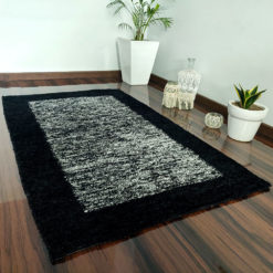 Avioni Carpet Silk Neo Collection- Luxury Modern Border Tiedye Design – White and Black