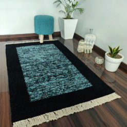 Avioni Carpet Silk Neo Collection- Luxury Modern Border Tiedye Design – Aqua and Black