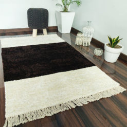 Avioni Carpets for Living Room – Neo Modern Collection Brown-White Carpet/Rug – 92x 152 cm (3×5 Feet)