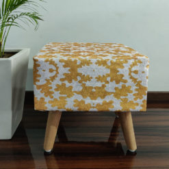 BIGMO Luxury Golden Finish Home Utility Padded Stool/ Ottoman Square-(Natural Finish)