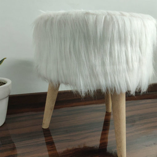 BIGMO Luxury Long White Fur Stool/ Ottoman (3 Legs-Natural Finish)