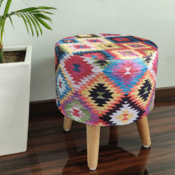 BIGMO Southwestern Home Utility Padded Stool/ Ottoman (4 Legs-Added Stability-Natural Finish)