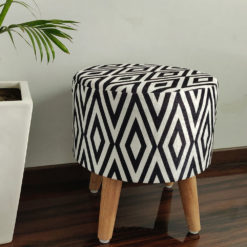 BIGMO Modern Black White Design Home Utility Padded Stool/ Ottoman (4 Legs-Added Stability-Natural Finish)
