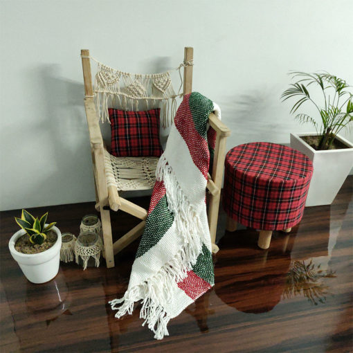 Avioni Christmas Sofa Throws/Blankets Super Soft Acrylic Handloom Weaved Red Green (Aura Collection)-127×152 cm (50 x 60 Inch)