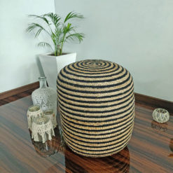 Bigmo Boho Braided Natural Jute and Black Dori Pouf Ottoman Large Size