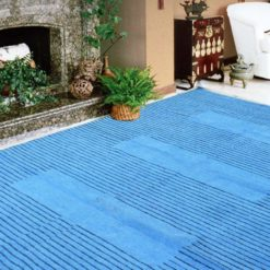 Avioni Durries Very Soft and Warm in Cotton and Chenille Black Lining with Blue-152 cm x 213 cm (5 x 7 feet)