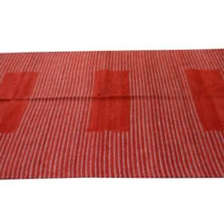 Avioni Durries Very Soft and Warm in Cotton and Chenille Red Assorted Lines- 122 cm x 183 cm (4 x 6 feet)