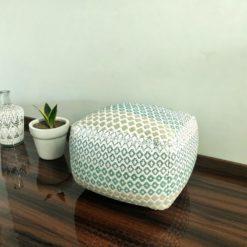 Bigmo Handloom Weaved Cotton  Pouf/ Ottoman Large Size- 35x40x40 cm