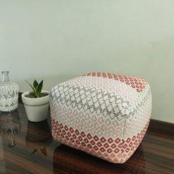 Bigmo Handloom Weaved Cotton Red Tones Pouf/ Ottoman Large Size- 35x40x40 cm