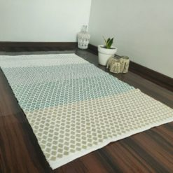 Avioni Contemporary Look Cotton Handloom weaved Floor Rug / Durrie – 3×5 – Green