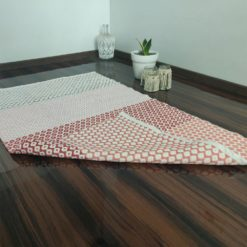 Avioni Contemporary Look Cotton Handloom weaved Floor Rug / Durrie – 3×5 – Red-Pink