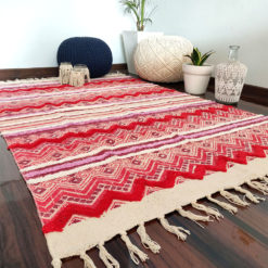 Avioni Boho Look Cotton Printed & Part Tufted Floor Rug / Durrie – 4×6 Rectangle