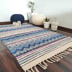 Avioni Boho Look Cotton Printed & Part Tufted Floor Rug / Durrie – 4×6 – Blue