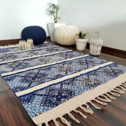 Avioni Boho Look Cotton Printed & Part Tufted Floor Rug / Durrie – 4×6 – Blue with White Tufting