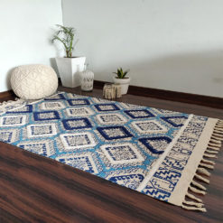 Avioni Boho Look Cotton Printed & Part Tufted Floor Rug / Durrie – Blue Diamonds