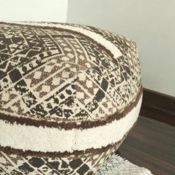 Avioni Boho Look Cotton Printed & Part Tufted Poufs/Ottoman Large Size- Brown