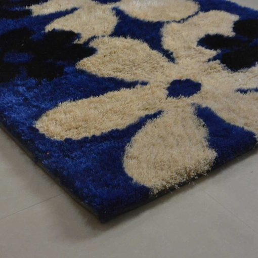 Avioni Shaggy Carpets in Beautiful Blue Floral -92×152 cm (3×5 Feet)