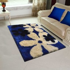 Avioni Shaggy Carpets in Beautiful Blue Floral -122×182 cm (4X6 Feet)