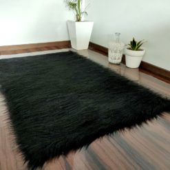 Soft Shaggy Rugs  – Fluffy Rug  – Black Premium Long Fur – Avioni Carpets