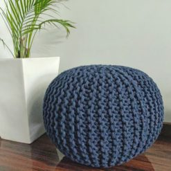 BIGMO Luxury Hand Knotted Boho Look Pouf/ Ottoman Large Size- Blue Colour- 35x40x40