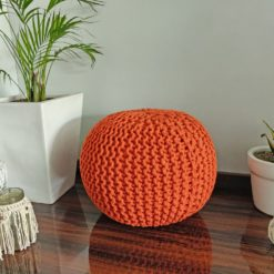 BIGMO Luxury Hand Knotted Boho Look Pouf/ Ottoman Large Size- Orange Colour- 35x40x40 (Copy)