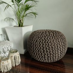 BIGMO Luxury Hand Knotted Boho Look Pouf/ Ottoman Large Size- Brown Colour- 35x40x40