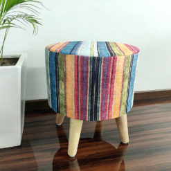 Holi Special_ BIGMO Luxury Home Utility Padded Stool/ Ottoman (4 Legs-Added Stability-Natural Finish)