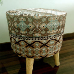 BIGMO Luxury Home Utility Padded Stool/ Ottoman (4 Legs-Added Stability-Natural Finish)
