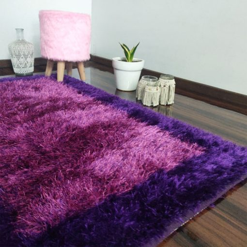 Fur Rug For Living Room|Pink With Purple Border|By Avioni| 92×152 cm|3×5 Feet