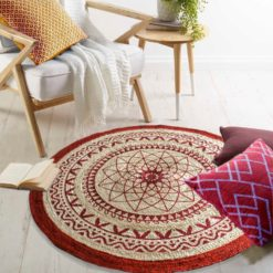 Avioni Jute Braided Printed Carpet in Red Print -120 Cms Round