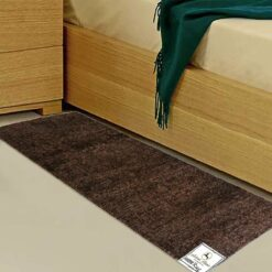 Handloom Coffee Plain Solid Premium Bedside Carpet (22X55 Inch) By Avioni