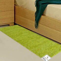 Avioni Handloom Green Solid Premium Bedside Carpet (22X55 Inch)