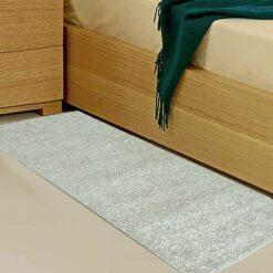 Avioni Handloom Silver Plain Solid Premium Bedside Carpet (22X55 Inch)