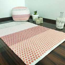 Save 7.5% on Combo of Avioni Contemporary Look Cotton Handloom weaved Floor Rug / Durrie – 3×5 and Pouf in Red Color