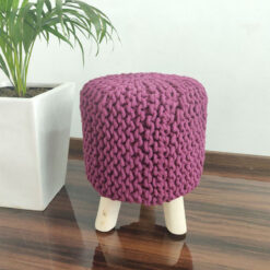BIGMO Luxury Hand Knotted Boho Look Stool/ Ottoman (3 Legs-Natural Finish)-MediumViolet-Red