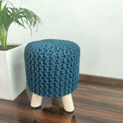 BIGMO Luxury Hand Knotted Boho Look Stool/ Ottoman (3 Legs-Natural Finish)- Dark Turquoise