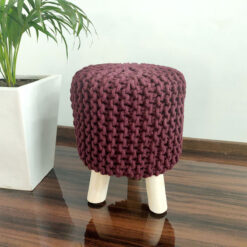 BIGMO Luxury Hand Knotted Boho Look Stool/ Ottoman (3 Legs-Natural Finish)- FireBrick Colour