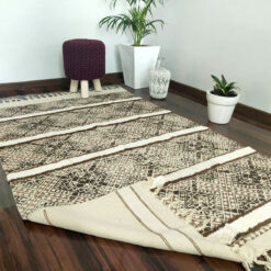 Avioni Boho Look Cotton Printed & Part Tufted Floor Rug / Durrie – Brown